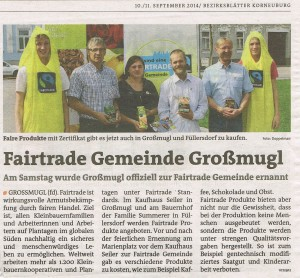 Ernennungsfeier Fairtrade 2014