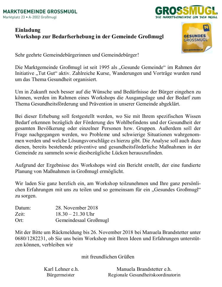 Gesunde Gemeinde Großmugl Bedarfserhebung Gesundheit